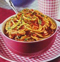 Spaghetti al curry e prosciutto