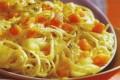 Spaghetti con zucca e porri