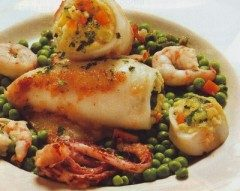 Calamari farciti con zucchine e gamberi
