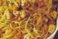 Spaghetti con gamberi e zucca