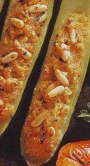 Zucchine farcite con pecorino e pinoli