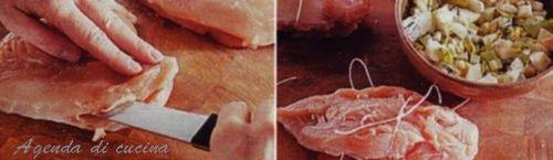 Petti di capone farciti in salsa al zafferano