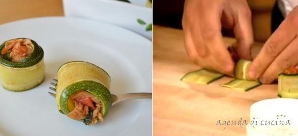 Involtini semplici di zucchine e tonno
