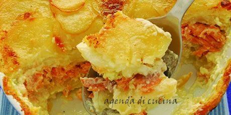 Patate gratinate con salmone