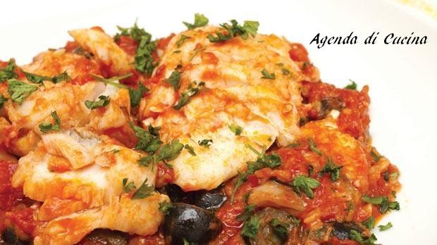 Baccalà al concentrato di pomodoro e olive nere