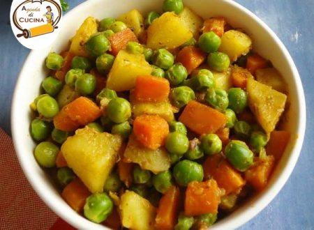 Zucca stufata con patate e piselli