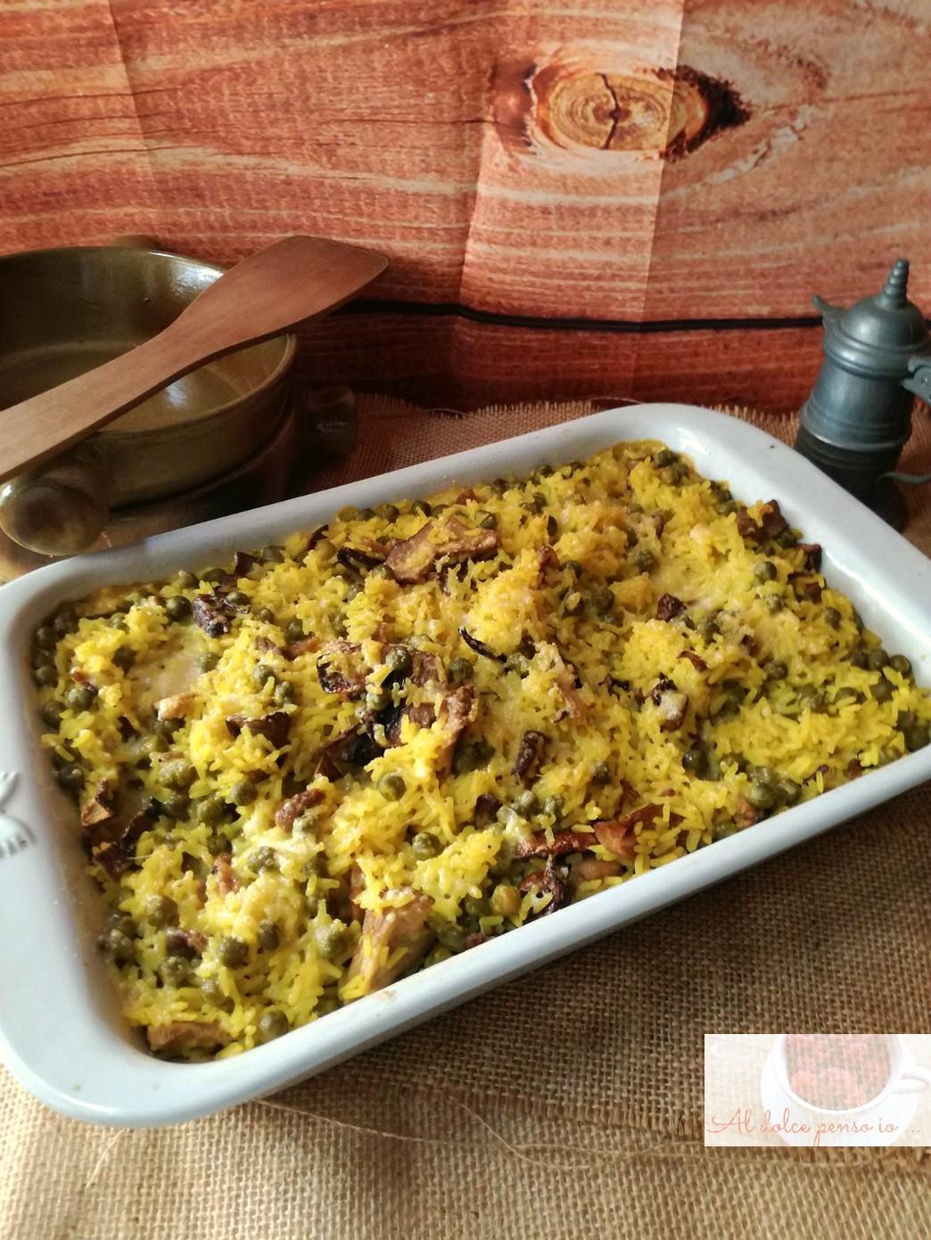gratin di riso al curry con funghi e piselli