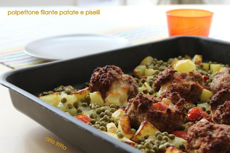 polpettone filante con patate e piselli