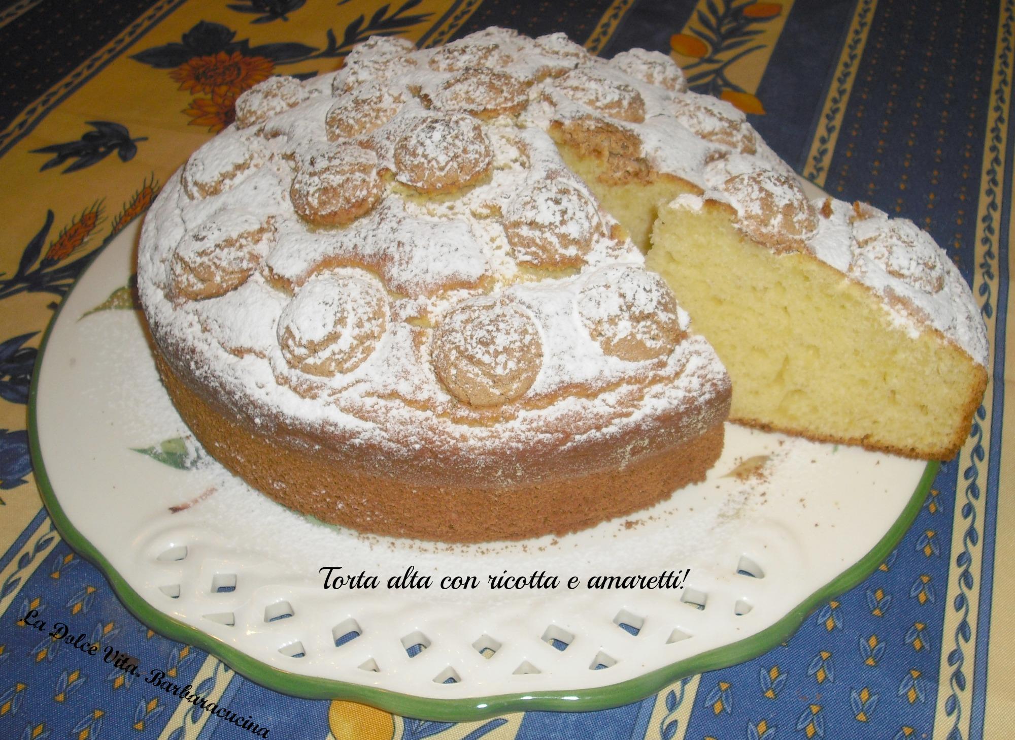 torta alta con ricotta e amaretti