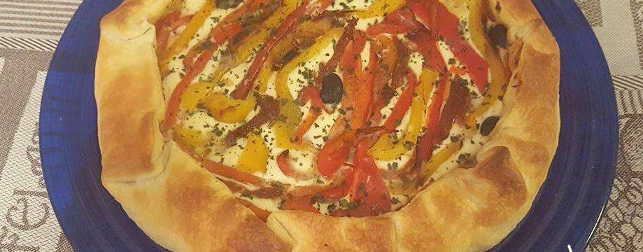Torta salata ai peperoni grigliati e ricotta