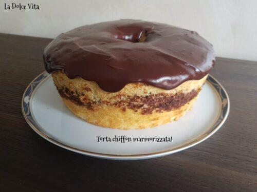 Torta chiffon marmorizzata con glassa al cioccolato!
