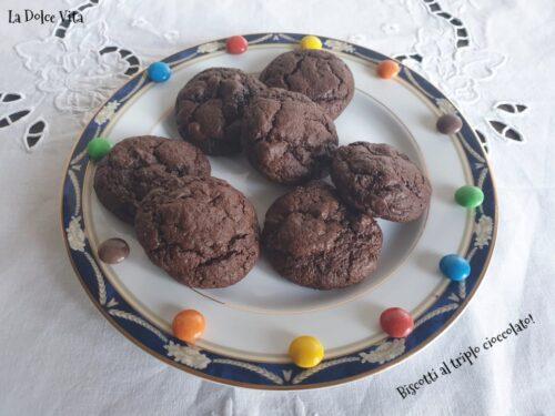 Biscotti al triplo cioccolato super morbidi!