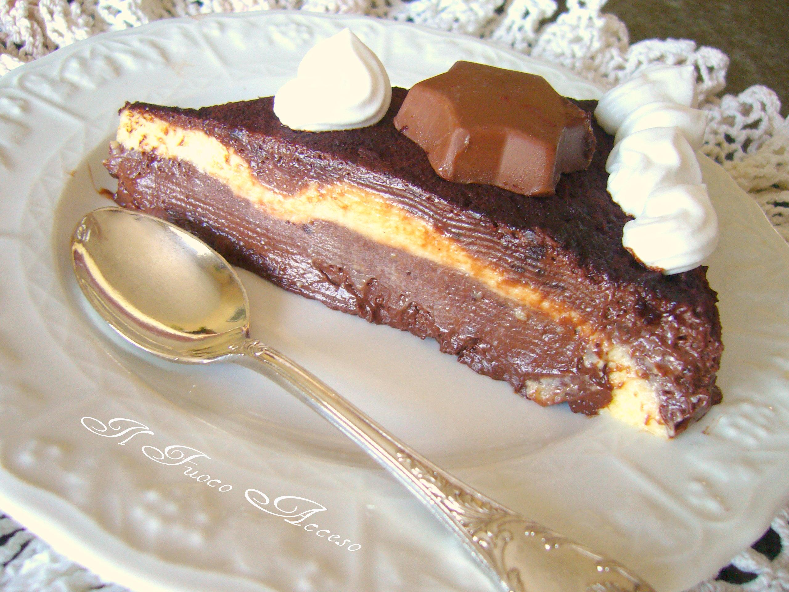 Torta fredda ai tre cioccolati