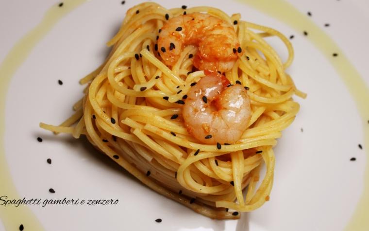 Spaghetti gamberi pomodoro e zenzero