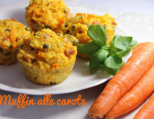 Muffin di carote con pancetta e piselli