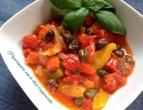 Peperonata con le olive taggiasche