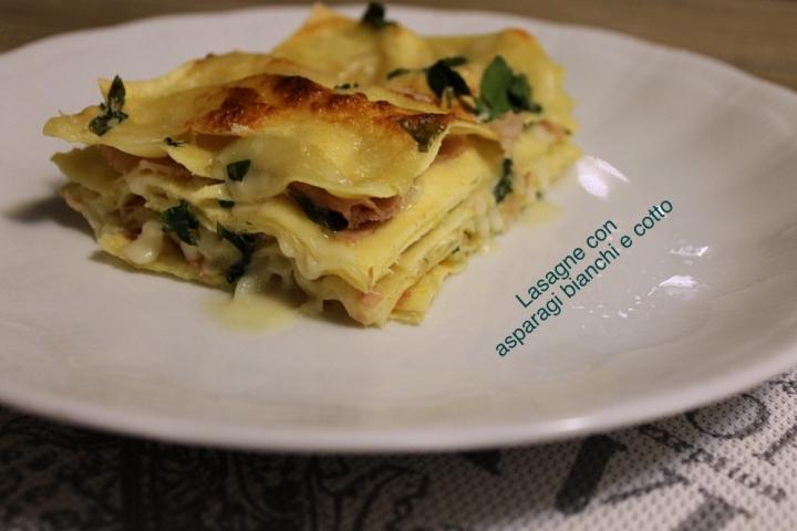 lasagne con  asparagi bianchi e cotto