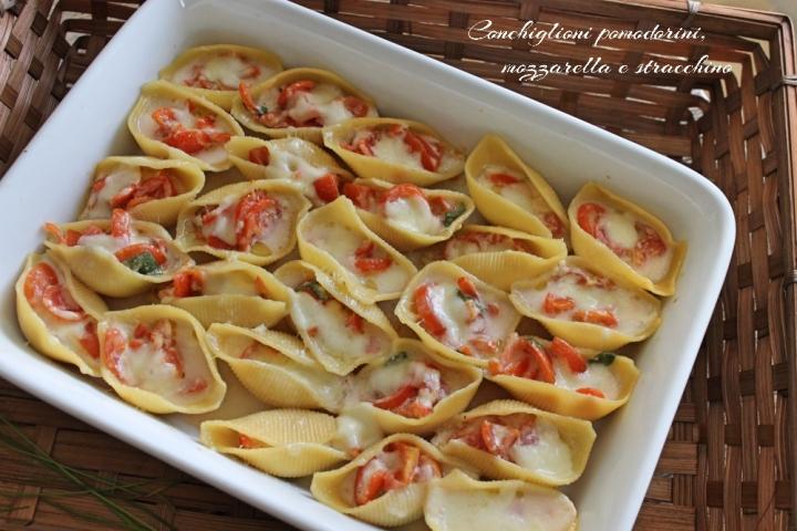 conchiglioni pomodorini mozzarella e stracchino