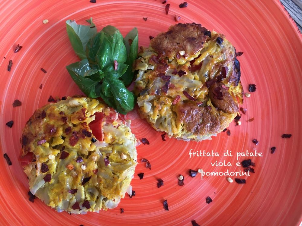 Frittata di patate viola e pomodorini