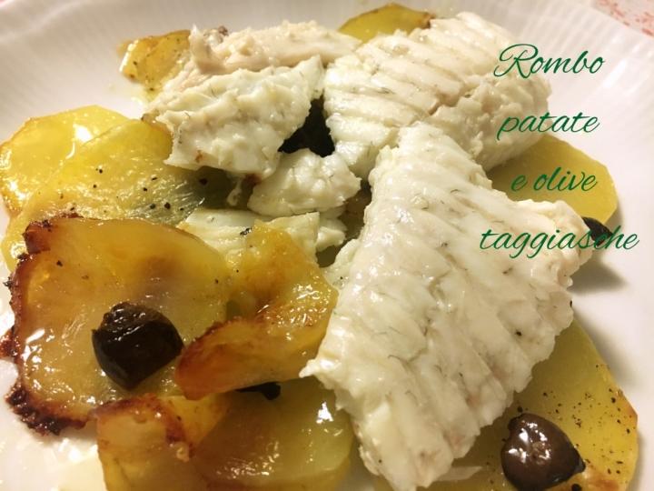 Rombo al forno con patate e olive taggiasche