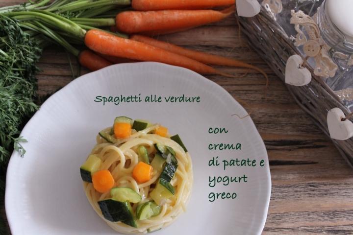 Spaghetti alle verdure con crema di patate e yogurt