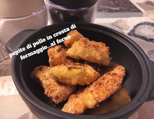 Pepite di pollo al forno in crosta di formaggio. Che gusto!