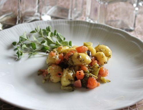 Gnocchi salmone, taggiasche e broccoli