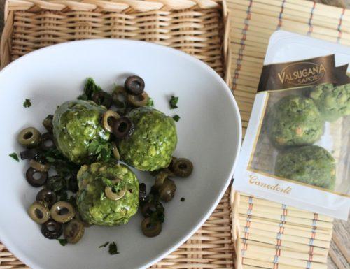 Canederli  con olive, acciughe e prezzemolo