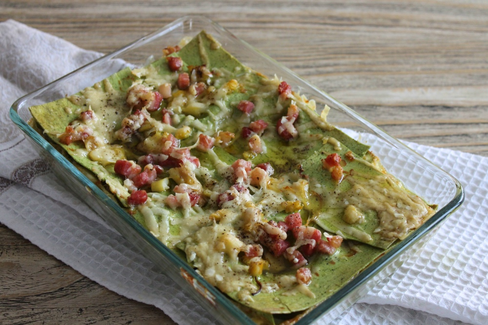 Lasagne verdi con asparagi bianchi e pancetta