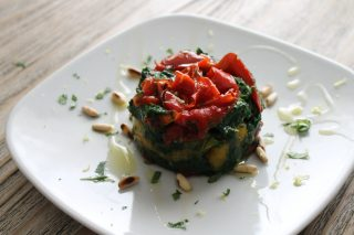 tortino di spinaci e peperoni