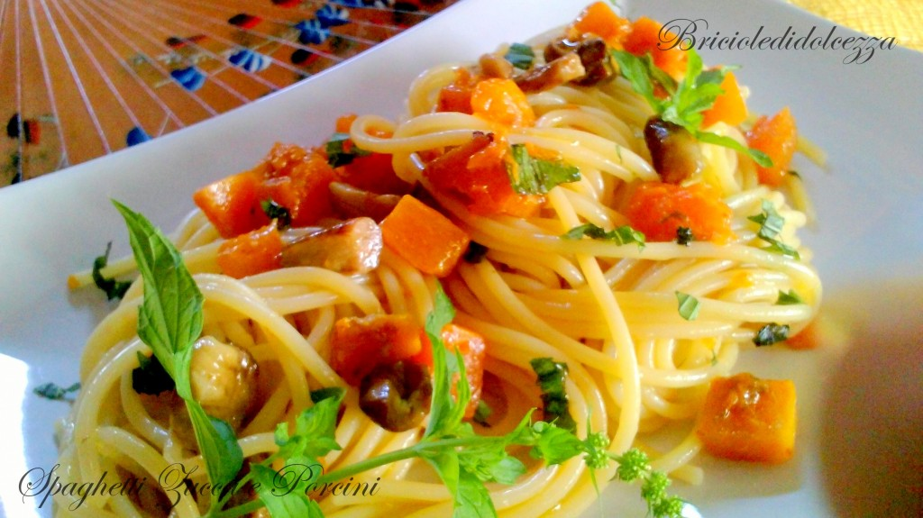Spaghetti menta zucca e porcini