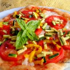 Pizza con verdure crude