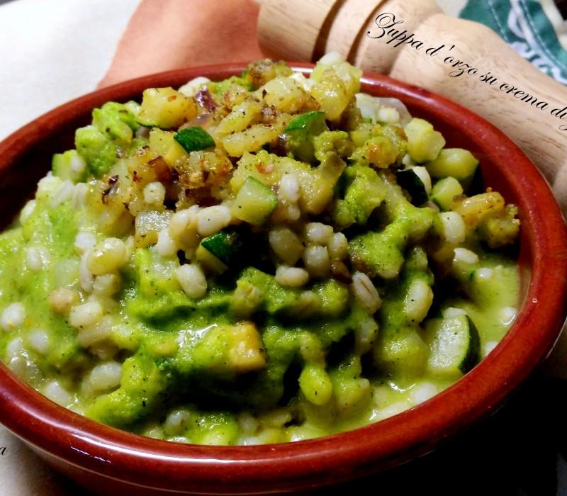Zuppa d'orzo su Crema di Zucchine