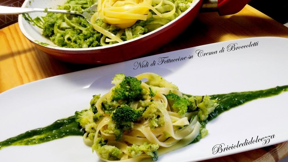 Nidi di Fettuccine su Crema di Broccoletti
