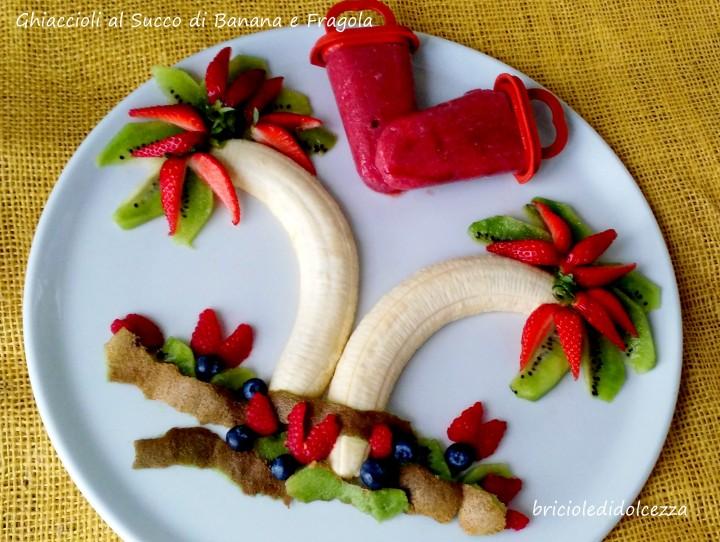 Ghiaccioli al Succo di Banana e Fragola