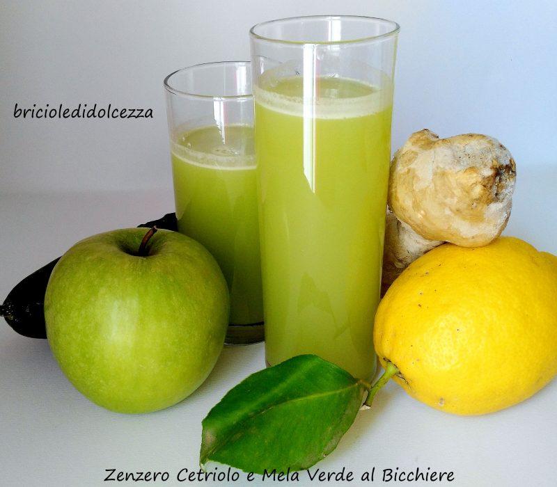 Zenzero Cetriolo e Mela Verde al Bicchiere