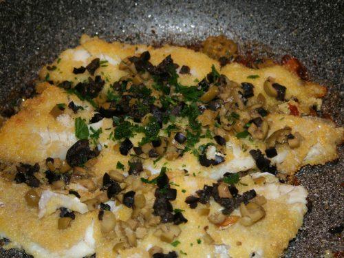 Filetti di merluzzo con panatura al mais e olive