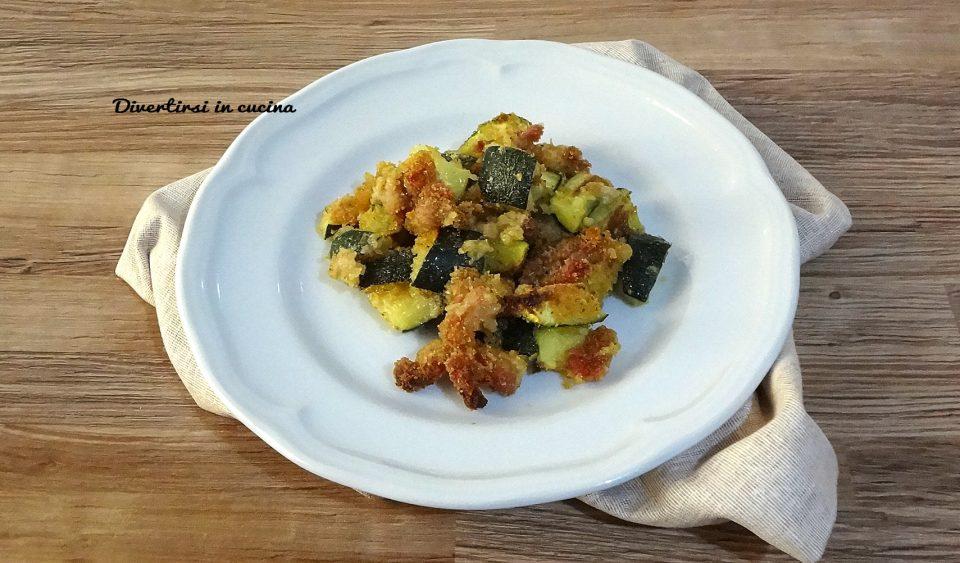 Zucchine gratinate con pancetta
