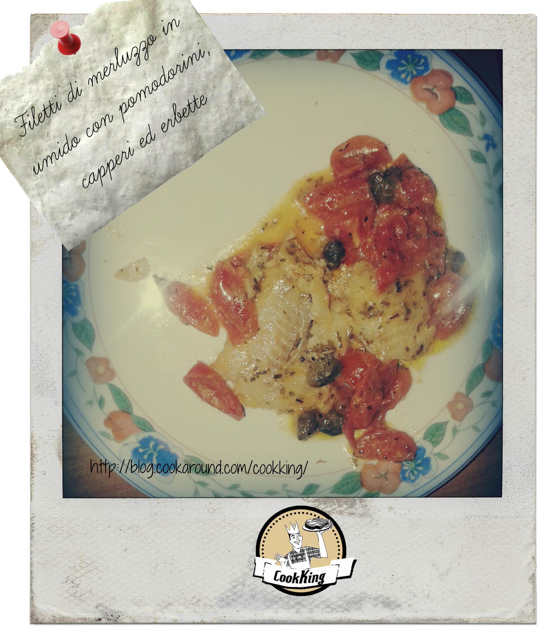 Filetti di merluzzo in umido con pomodorini, capperi ed erbette - CookKING