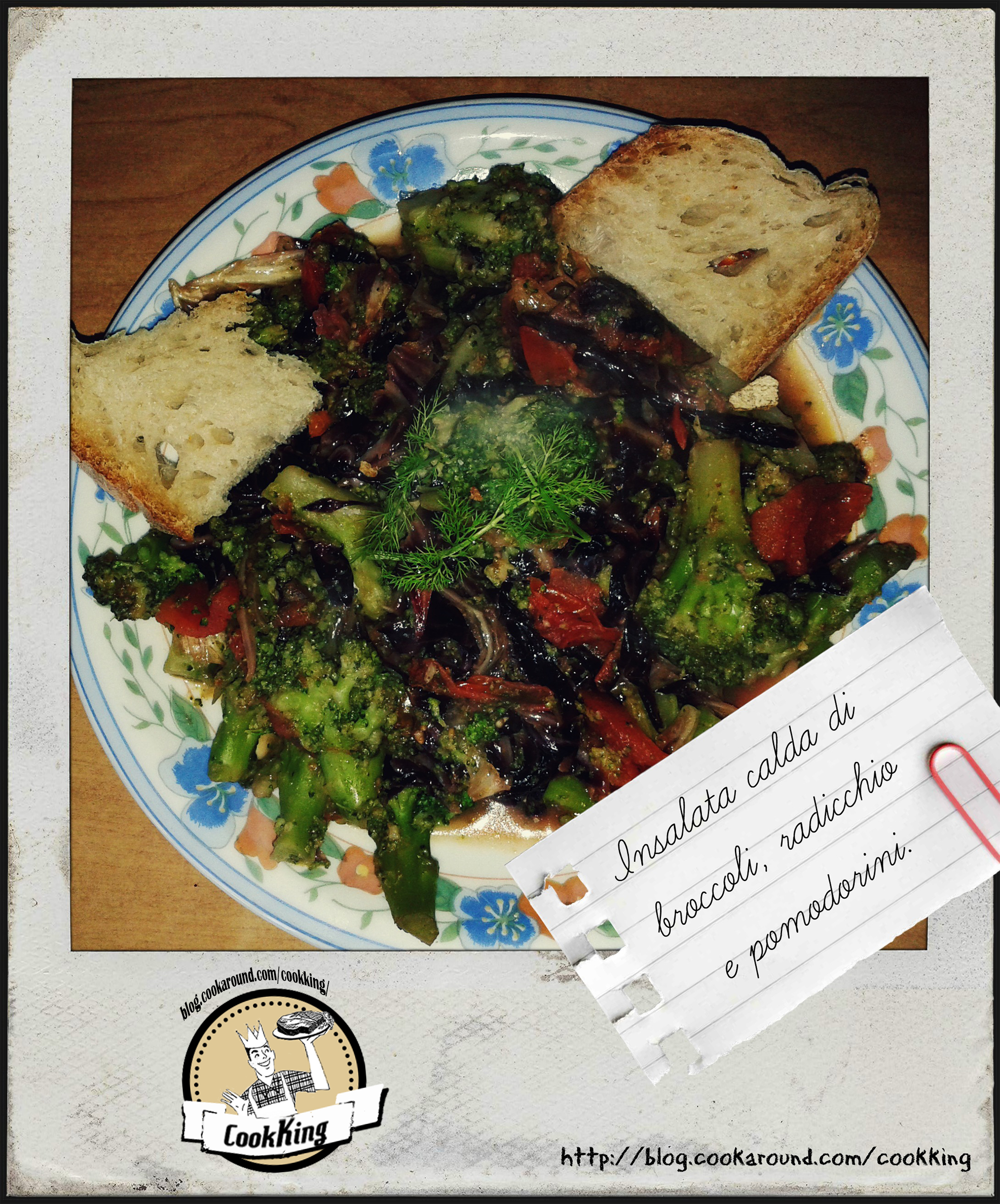 Insalata calda di broccoli, radicchio e pomodorini - CookKING