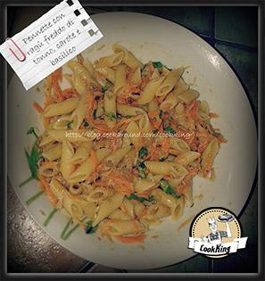 Pennette con ragù freddo di tonno, carote e basilico - CookKING