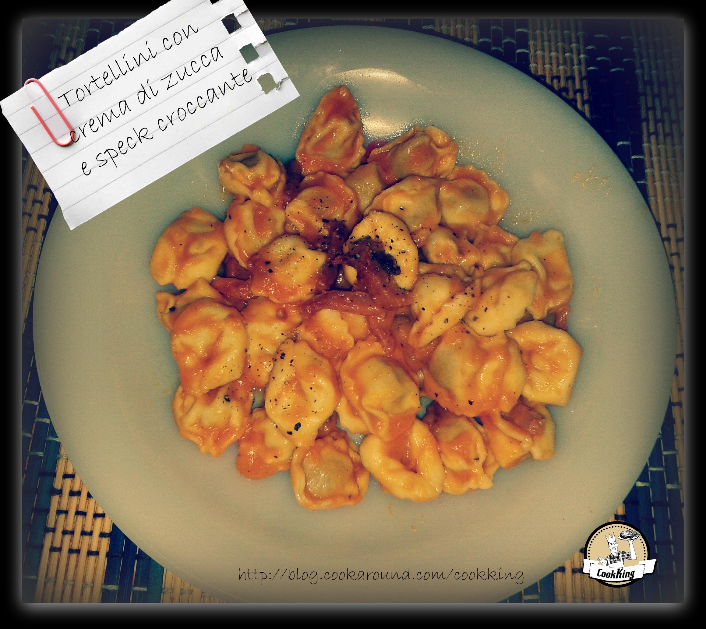 Tortellini con crema di zucca e speck croccante - CookKING