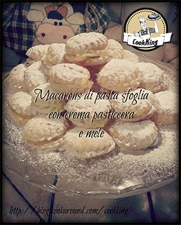 Macarons di pasta sfoglia con crema pasticcera e mele