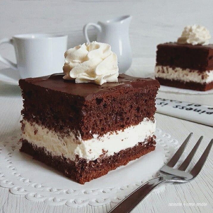 Torta A Quadrotti Con Panna E Cioccolato Cucinare è Come Amare