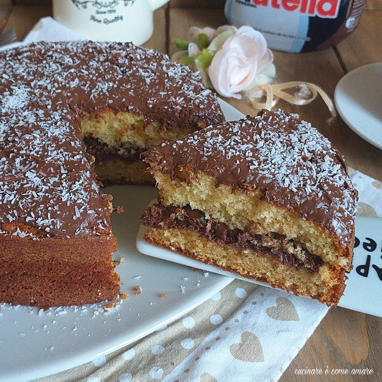 torta al cocco e nutella morbida e golosa