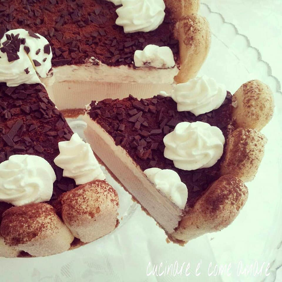 torta savoiardo crema caffe e panna