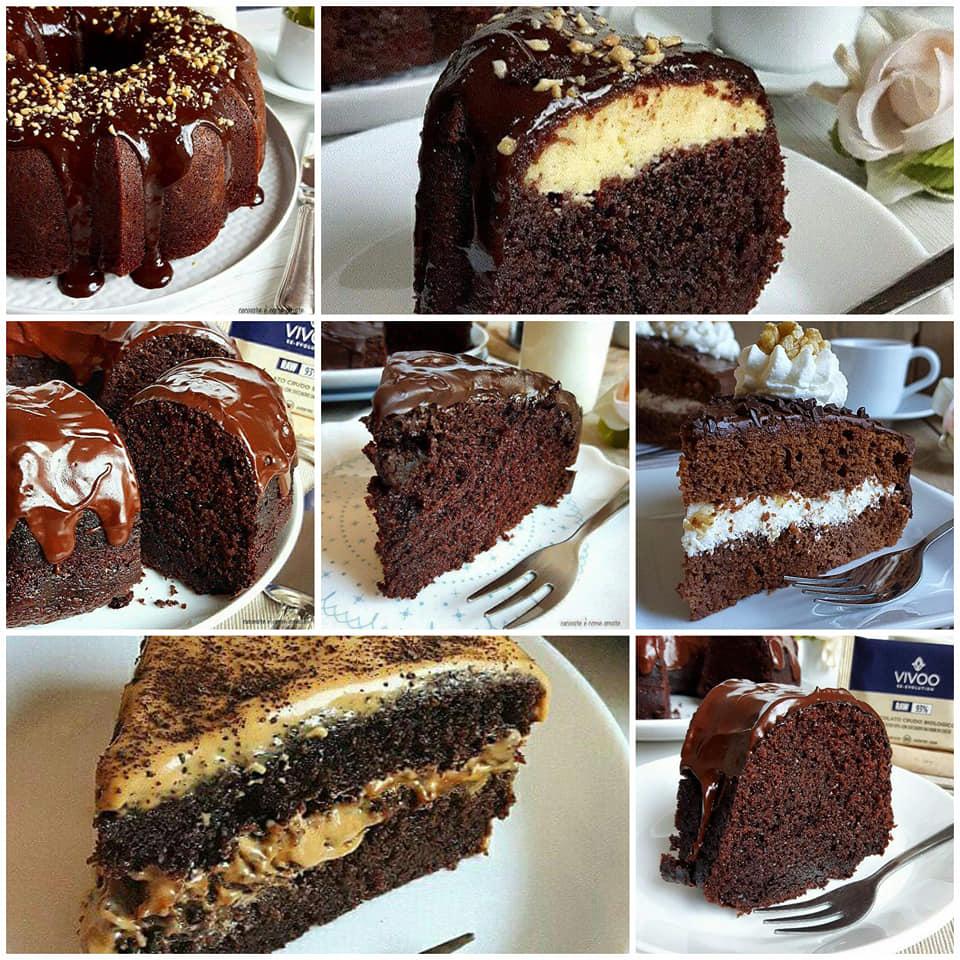 raccolta di torta al cacao con glassa e ripieno