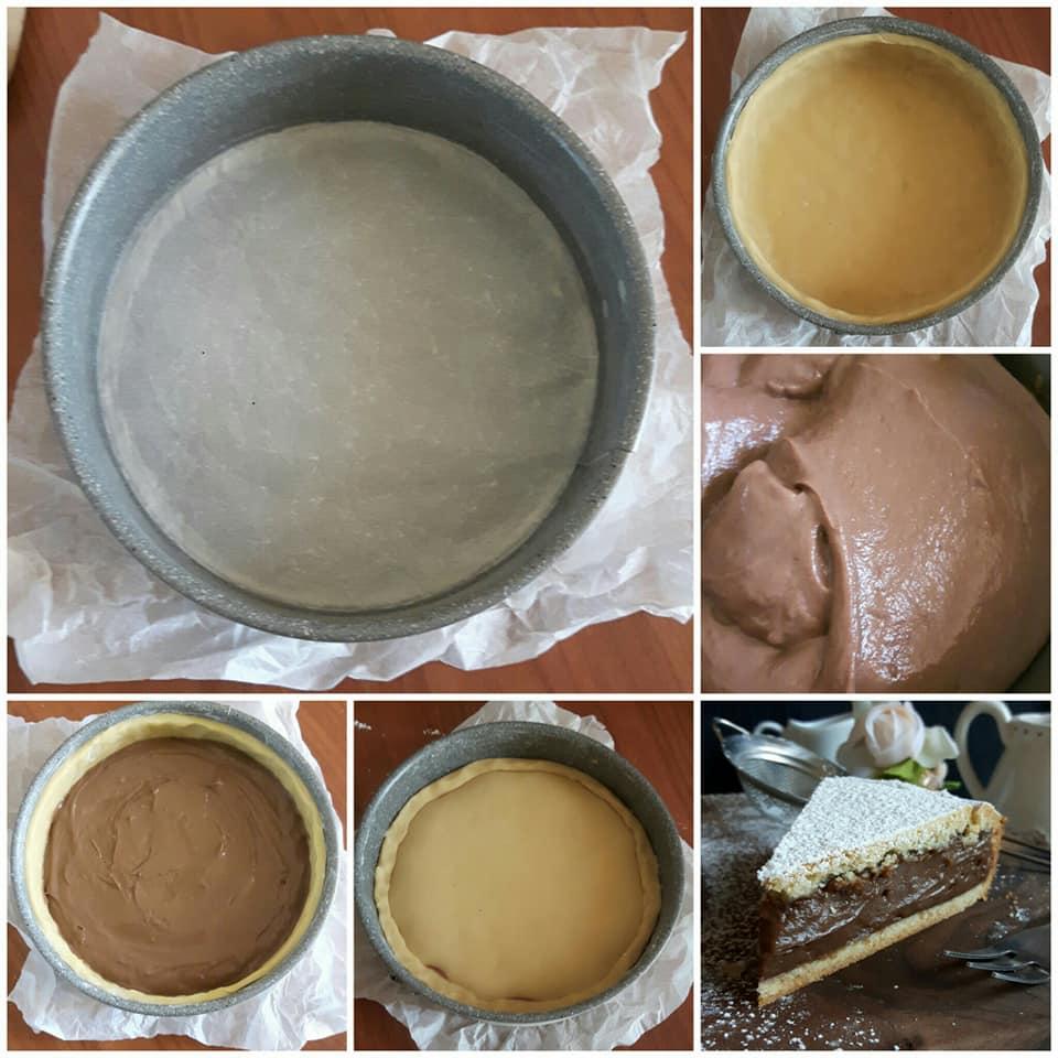 impasto crostata ripiena crema cioccolato dolce goloso