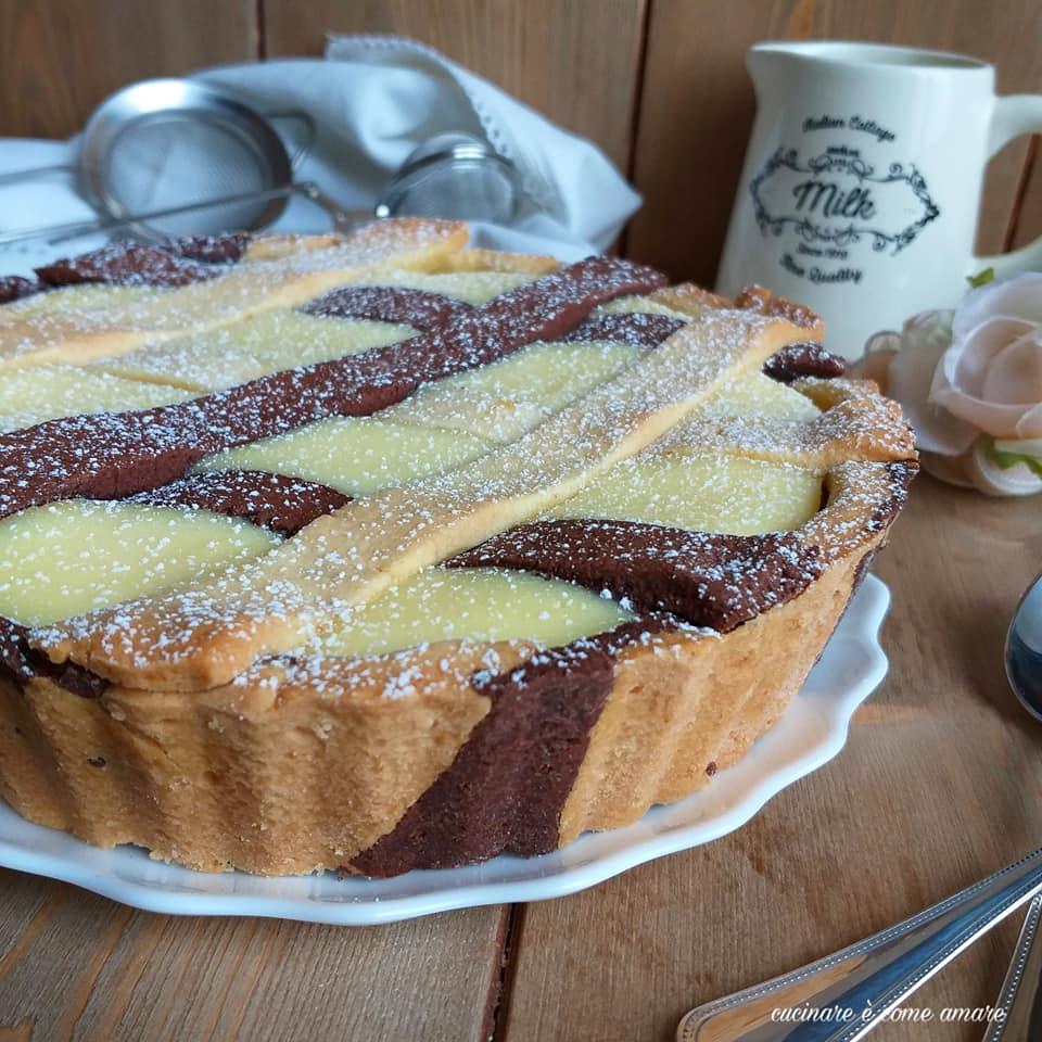 torta crostata con frolla bigusto ripieno ricotta