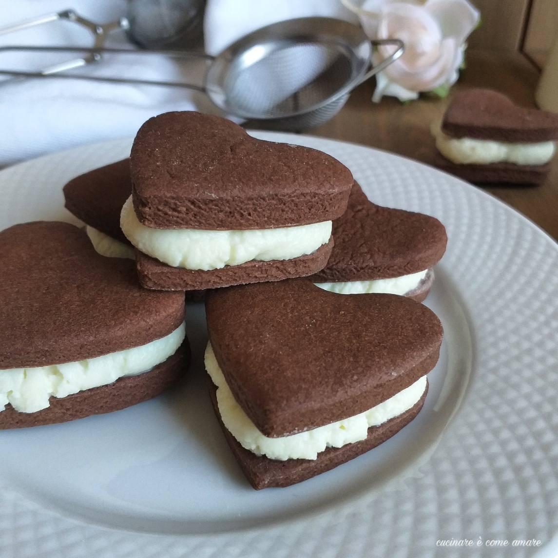 biscotto cuore paradiso al cacao ripieno